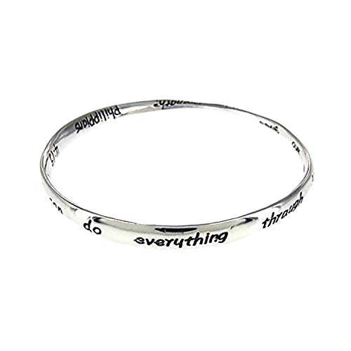 Artisan Owl Philippians 4:13 Inspirational Bangle - I do Everything Through him who Gives me Strength- Bible Scripture Verse Mobius Bangle Bracelet