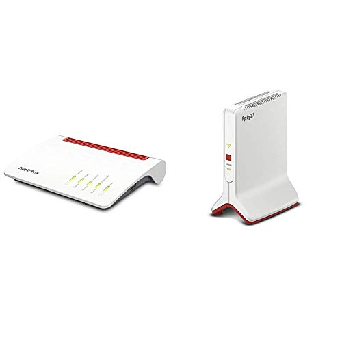 AVM FRITZ!Box 7590 International Modem Router, Wireless Veloce AC+N 2533 Mbit s, Telefonia Analogica e VoIP + WLAN Repeater 3000 International - Ripetitore Extender WiFi AC + N