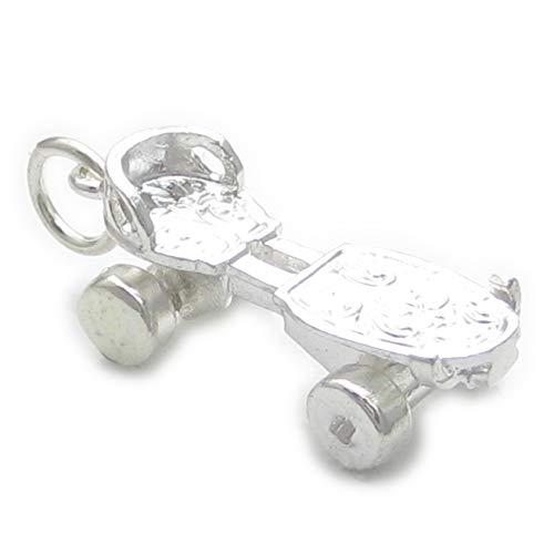Rollschuh mit Räder Sterlingsilber Charm .925 Schlittschuhlaufen Charms ec693