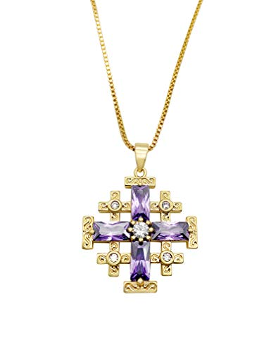 Nazareth Store Jerusalem Cross Pendant Necklace 20' Gold Plated Crusaders Crucifix Charm with Purple Topaz