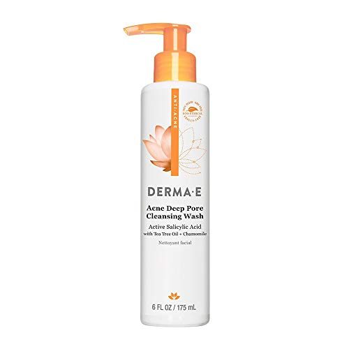 DERMA E Acne Deep Pore Acne Cleansing Wash with Salicylic Acid, Tree Tree Oil, Chamomile, 6 oz