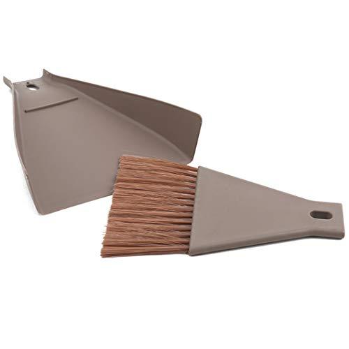 SJHFG Mini escoba de escritorio Set de limpieza del hogar Herramienta de limpieza de la oficina Hogar Pequeño escoba y recogedor Kit portátil, marrón