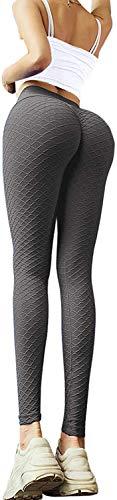 Memoryee Frauen Honeycomb Leggings geraffte Hintern heben hohe Taille Yogahosen schick mit Taschen Sport Bauch Kontrolle Gym/Dunkelgrau-Style7/M