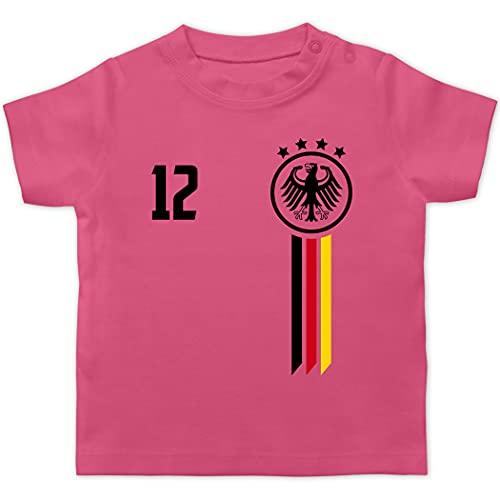 Fussball EM 2021 Fanartikel Baby - 12. Mann Deutschland EM - 3/6 Monate - Pink - Trikot wm 2018 Deutschland - BZ02 - Baby T-Shirt Kurzarm