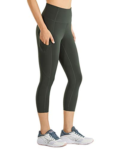 CRZ YOGA Women's Naked Feeling High Waist Gym Workout Capris Leggings with Pockets 19 Inches Olive Green 19'' Small