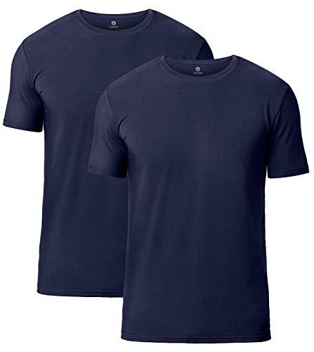 LAPASA Uomo Pacco da 2 T-Shirt Micromodal –Pura SOFFICITÀ- Maglia Intima Regular Fit Girocollo Maniche Corte M07 (Medium, Blu Navy)