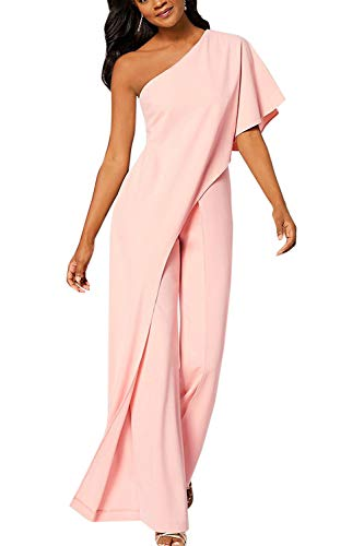 YACUN Mono Largo Mujer Fiesta Verano de un Hombro sin Mangas Pantalones Largos Pierna Ancha Cintura Alta Causal Elegante Rosa XL