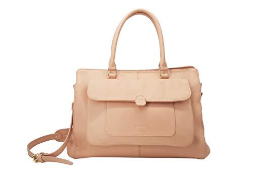 Kate Lee ERYN Handtasche für Damen, großes Fassungsvermögen, Leder, Umhängetasche, Schultertasche, Umhängetasche, verstellbarer und abnehmbarer Schultergurt, Beige