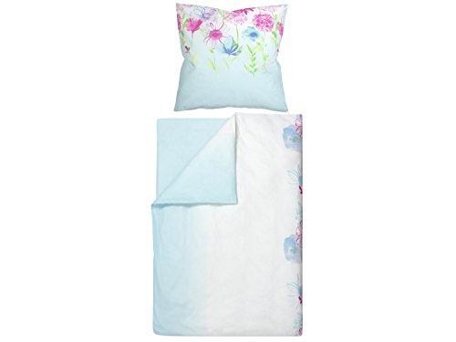 npluseins Baumwoll-Bettwäsche mit verschiedenen Motiven - mit Reißverschluss - schadstoffgeprüft - Set mit 1 Kissenbezug ca. 80 x 80 cm und 1 Bettdeckenbezug ca. 135 x 200 cm, freh Flowers