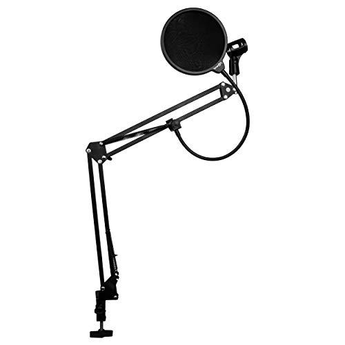 Dragonpad USA Microphone Scissor Boom Arm with Desk Mount and Studio Pop Filter - Black Frame, Black Filter