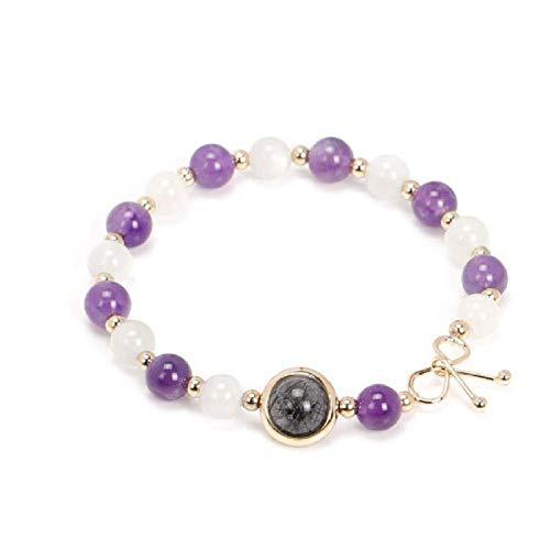 N/Z Pulsera de Acero Inoxidable Pulsera de Cristal púrpura