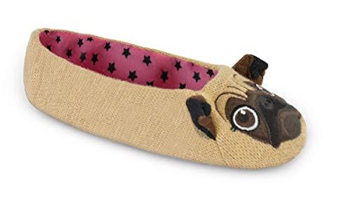 Damen gestrickte Neuheit Pug Ballet Slippers (Medium, Brauner Mops)