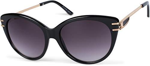 styleBREAKER Damen Sonnenbrille in Katzenaugen Form mit Polycarbonat Gläsern und Metall Bügel, Cat-Eye Brille 09020111, Farbe:Gestell Schwarz/Glas Grau-Violett Verlaufsglas