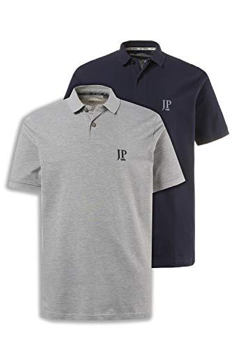 JP 1880 Herren große Größen bis 7XL, Poloshirts, 2er-Pack, Piqué, Seitenschlitze, Regular Fit, grau, Navy 5XL 704317 70-5XL