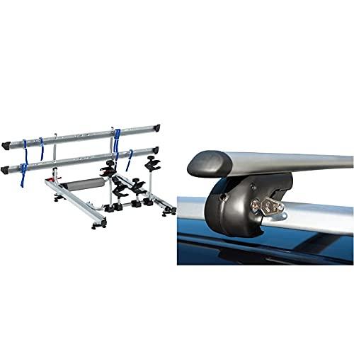 FISCHER 18092 Dachlift Fahrradträger für 2 Fahrräder, Dachfahrradträger fürs Autodach, TÜV/GS geprüft & Aluminium-Relingträger Topline Größe L, Länge 1,20 m, mit Schloss
