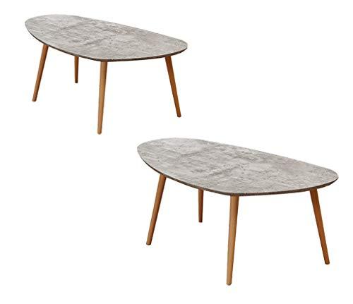 LYMHGHJ Ovaler Couchtisch, Couchtisch Wohnzimmer Kreativer Einfacher Verhandlungstisch aus Holz Schlafzimmer Größe...