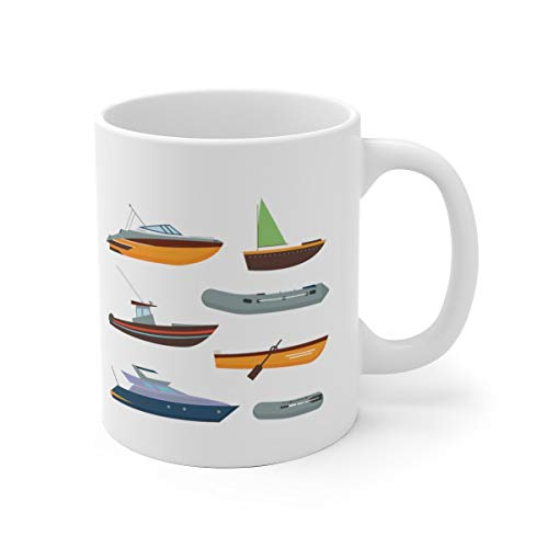 Novelty Coffee Mug Boats White Ceramic Mug, Sailing Mug , Sailboats, Rowing Mug,Rowboats, Lake , Boating Mug Travel Coffee Mug for Men Women 11OZ Ceramic Tea Cup Milk Mugs,Drink Mug