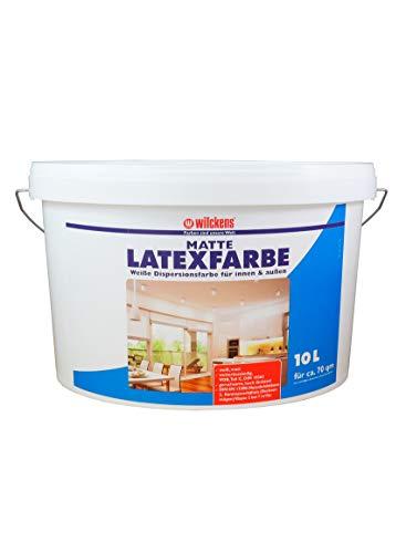 Latexfarbe weiß matt 10 l ca. 60 m² Putz Beton Faserzement Innenfarbe Farbe glänzend Wilckens