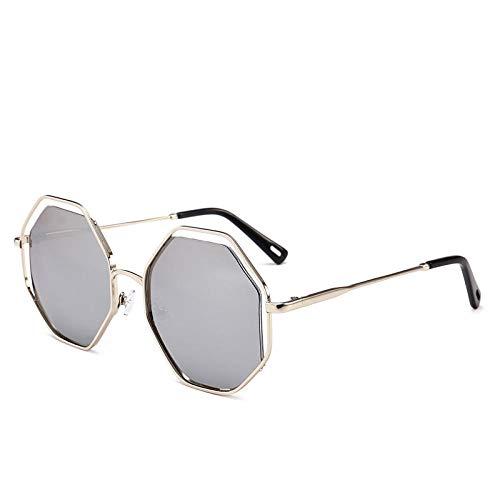Gafas de sol poligonal para mujer, doble hebilla, cristales de metal huecos,...