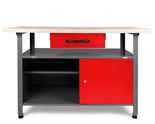 Ondis24 Montagewerkbank Werkbank Klaus 120 cm, TÜV geprüft, Metall, abschließbarer Tür, höhenverstellbare Füße (Arbeitshöhe 85 cm, Rot)