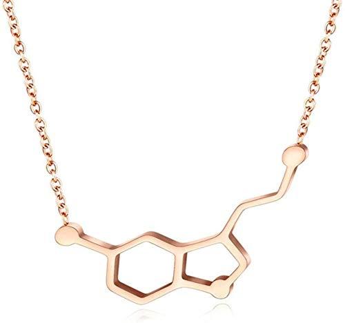 ZGYFJCH Co.,ltd Collar de Gargantilla de Acero Inoxidable de Color Oro Rosa para Mujer y niña, Collar con Colgante de molécula química de dopamina a la Moda