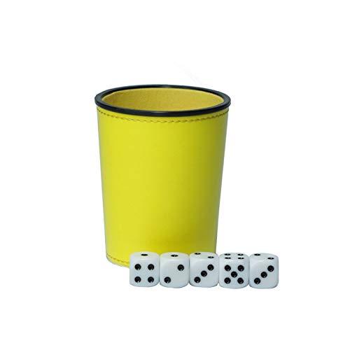 YUANLIN Dados Cuero PU Trompeta Franela Dados Copa Bar KTV Entertainment Dice Cup con Dados dcc Dados ( Color : Yellow )