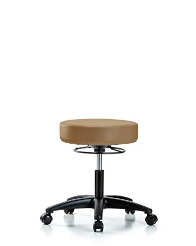 Adjustable Stool for Exam Rooms, Labs, and Dentists with Wheels - Desk Height, Taupe