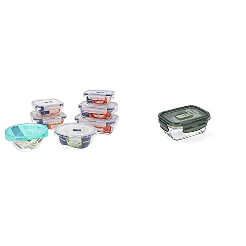 Luminarc Pure Box Active Set 7 recipientes herméticos de Vidrio, Extra Resistentes, Sin BPA + Pure Box Active Recipiente hermético Rectangular de Vidrio, 38cl, Color Oliva