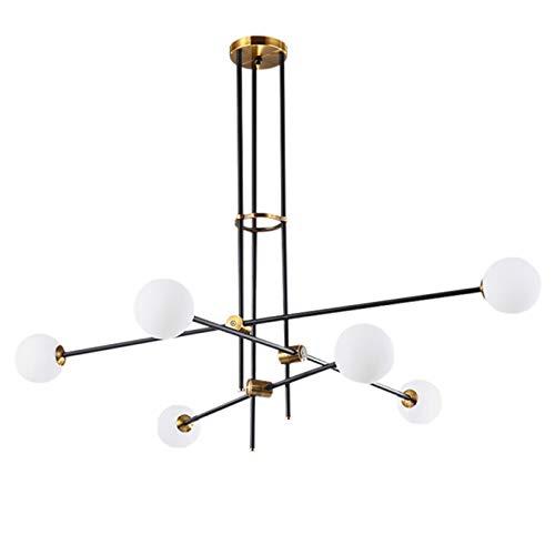 OYIPRO Pendelleuchte 6-Flammig, Kronleuchter Modern, Sputnik Hängelampe,G9 Lampenfassung Glass Lampenschirm, für Schlafzimmer Wohnzimmer Küche