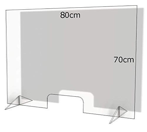 Spuckschutz aus Plexiglas mit 4mm, 80x70cm Virenschutz Hustenschutz Niesschutz, Thekenaufsatz Tischaufsatz Tresenaufsatz, (80x70)