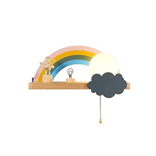 Kinderzimmer Kinderwandleuchte E27, Wandleuchte Regenbogenwolkenform, Bettlampe runder Milchglaslampenschirm, Nachtlampe mit Zugschalter, Schlafzimmer Wohnzimmer Flur Wandstrahler, dreifarbig, recht