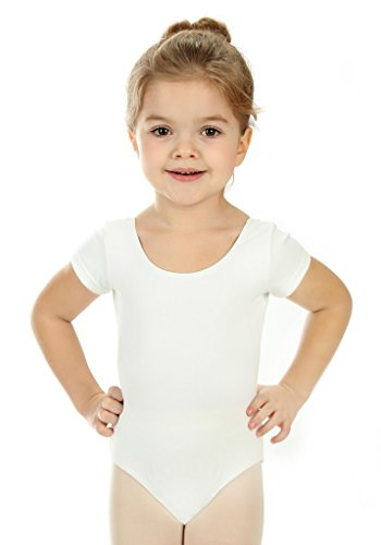 elowel | Mädchen | Sport-Ballet-Tanztrikot | Gymnastikanzug, Leotard | Kurzarm - Beinausschnitt G (Gym) | Elegant & Bequem | Größe: 4-6 Jahre | Farbe: Weiß