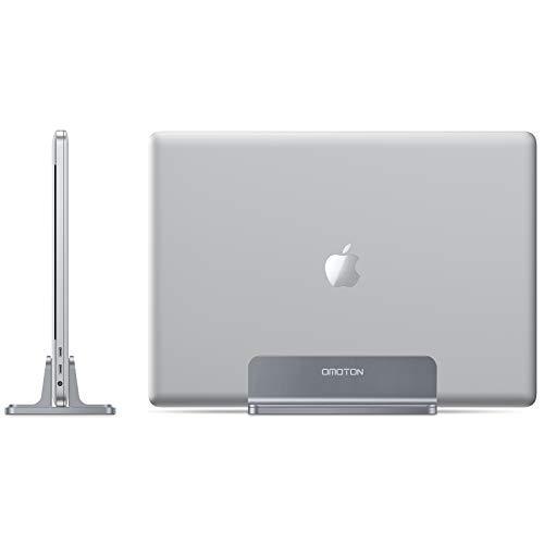 OMOTON Vertikalen Laptop Ständer, Aluminium Platzsparender Ständer für alle Handys & Notebooks - Verstellbarer Stand für MacBook, MacBook Air, MacBook Pro, Ultrabook, Lenovo & andere, grau