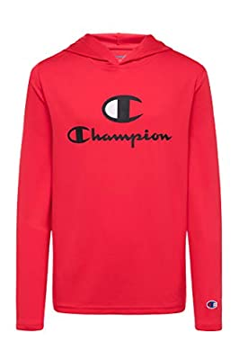 Champion Boys Tech Long Sleeve Top Active Hooded Tee Shirt for Kids Clothes (Small, Scarlet)