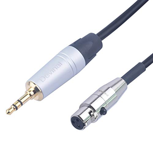 Devinal Female Mini XLR to 3.5mm calbe, 1/8' inch Stereo TRS to 3 Pin Mini XLR Female Cord Adapter Connector Audio Cable for AKG Headphones/Zoom f8, Pro Lapel Mic, Pioneer HDJ-2000 Headphones 12 inch
