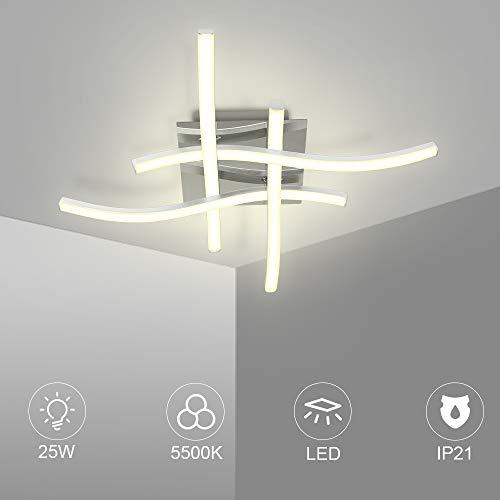 Led Deckenleuchte 25W Deckenlampe 4 flammig 5500K Wohnzimmerlampe IP21 Geeignet für Wohnzimmer Schlafzimmer Korridor