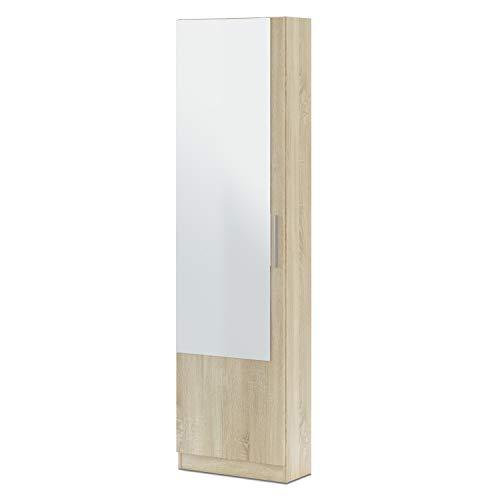 Habitdesign Armario Zapatero, Zapatero con Espejo, Modelo Kristal, Acabado en Color Roble Canadian, Medidas: 50 cm (Ancho) x 180 cm (Alto) x 22 cm (Fondo)