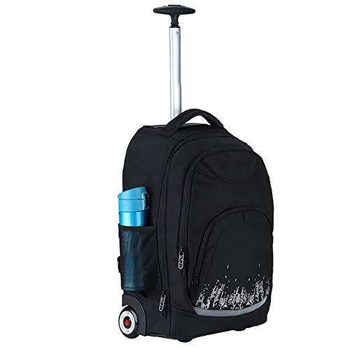 Rolling Laptop Backpack Wheeled Computer Backpack Fits Up to 17 Inch Laptop Friendly Water-Repellent Overnight Roller Case (Color : M)