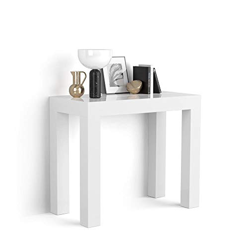 Mobili Fiver, Mesa Consola Extensible, Modelo First, Color Blanco Brillante, 90 x 45 x 76 cm, Made in Italy