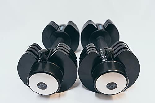 BRAINGAIN Par de mancuernas ajustables 5 en 1, 2 – 12 kg, color negro (mecanismo de bloqueo fácil de seguridad) equipo de gimnasio para el hogar (2 x 12 kg)