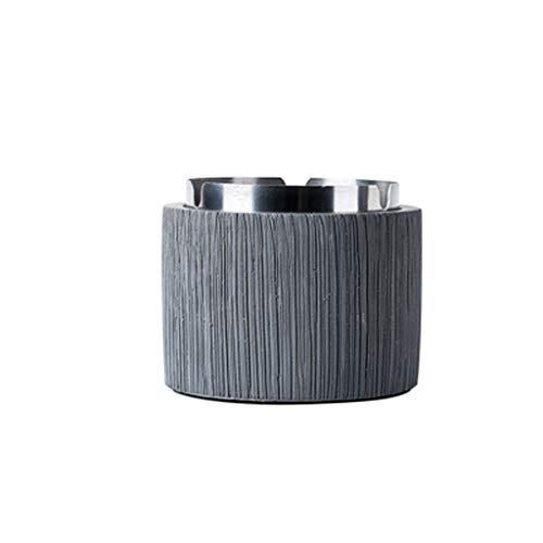 HLD Aschenbecher Zement Aschenbecher einfach Persönlichkeit Trend kreativ Wohnzimmer Teetisch Aschenbecher, Leichtbeton, dunkelgrau, Large