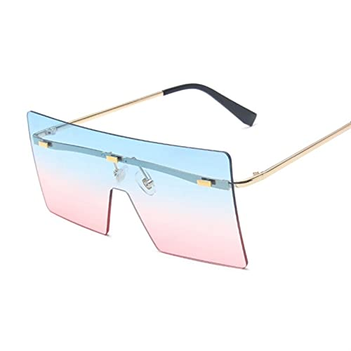 HSCDQ Vintage Square Gafas De Sol Mujeres Siamese Oversized Sun Gafas para Mujeres Marca De Lujo Lente Océano Rimless Big Shades Oculos De Sol exc.tq (Lenses Color : 11)