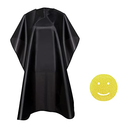 NOOA Waterproof Barber Cape - Professional Salon Cape for Men, Unisex Black Hair Cutting Cape with Adjustable Neck Size, 41.5 x 58 inches Hairdresser Cape for Hair Treatment - Cutting/Coloring/Perming