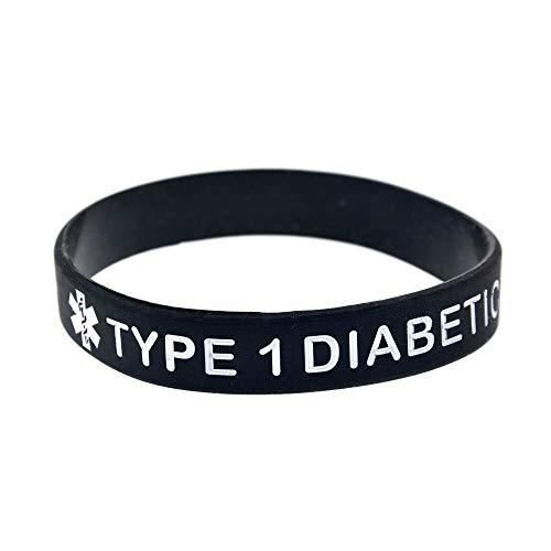 Xi-Link diabético Tipo 1' Advertencias Sanitarias Pulsera De Silicona Suave Pulsera Grabada Coloración Verde (Color : Black)