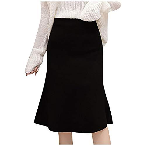 Sllowwa Damen Rock Casual Strickrock mit hoher Taille Wolle A-Line Rock Fishtail Bag Hip Rock