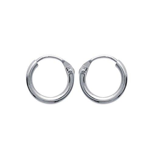 Pendientes de aro de plata 925/000 rodiada, 10 mm de diámetro y 1,5 mm de ancho