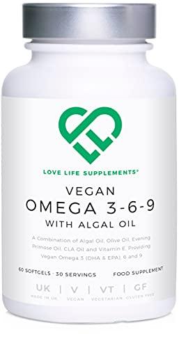 Love Life Supplements - Veganes Omega 3, 6 und 9 mit Algenöl, Olivenöl, Nachtkerzenöl, CLA Öl (Konjugierte Linolsäure) und Vitamin E, 60 Softgelkapseln