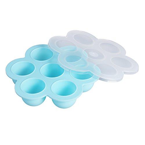 BESTOMZ Plateaux de stockage de nourriture avec des clips sur le couvercle - 7 cavités Plateaux de congélateur de conteneur de stockage des aliments pour bébé réutilisables en silicone (bleu clair)