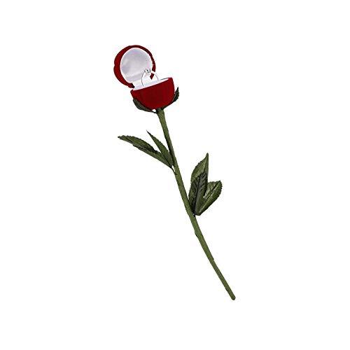 litulituhallo Caja de anillo de boda Caja de forma de flor de rosa caja de almacenamiento contenedor collar pendientes