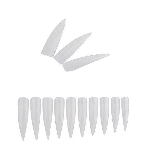 Ouneed® 500pcs Faux Ongles Pointus à coller (Blanche)